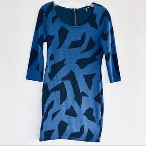 F21 Blue & Black Mini Sweater Dress Size Small